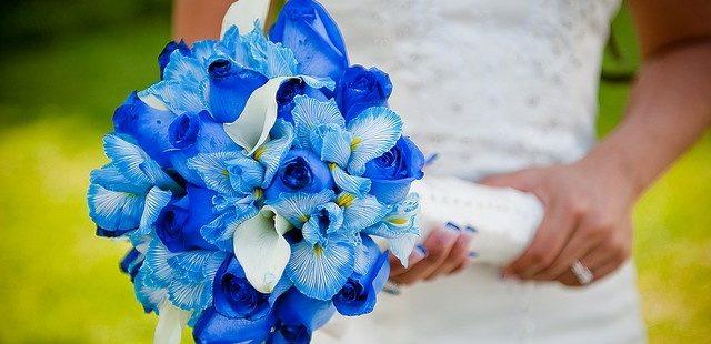 свадебный букет в голубом цвете