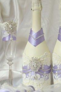 украшенные бутылки шампанского на свадьбу