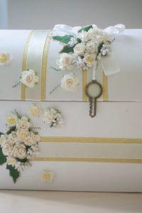 свадебный сундучок для денег с цветами