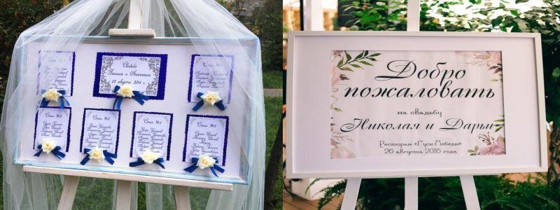 мольберт в свадебном оформлении