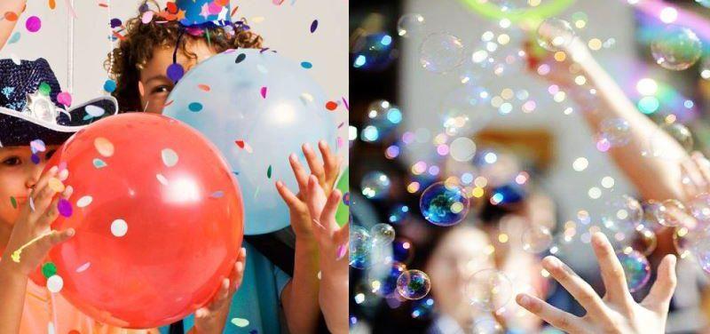 шары и мыльные пузыри на празднике