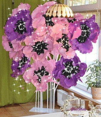 Большие цветы фотозона розовая