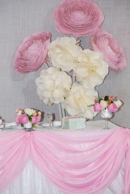 Фотозона бело-розовая на свадьбу