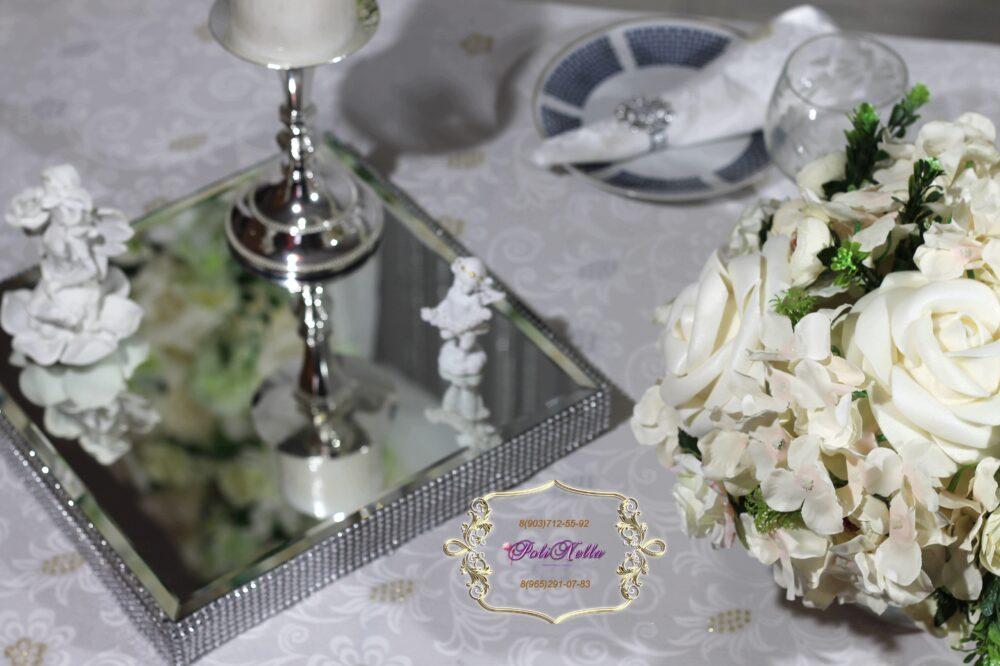 Украшение свадебного зала в серебрянном цвете