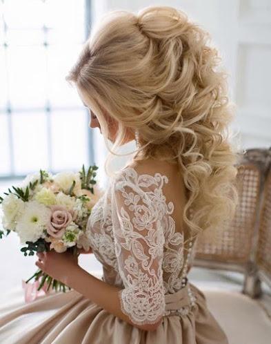 высокий хвост в свадебной прическе