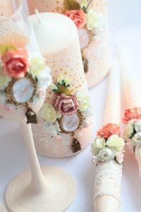 бокалы для шампанского свадебные в розовом цвете