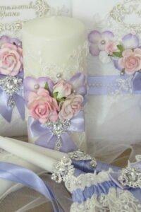 бледно голубой декор свадебных свечей