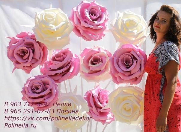 Фотозона из белых больших роз