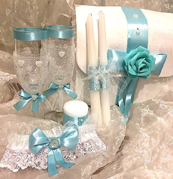 Свадебный набор свечей и бокалов купить